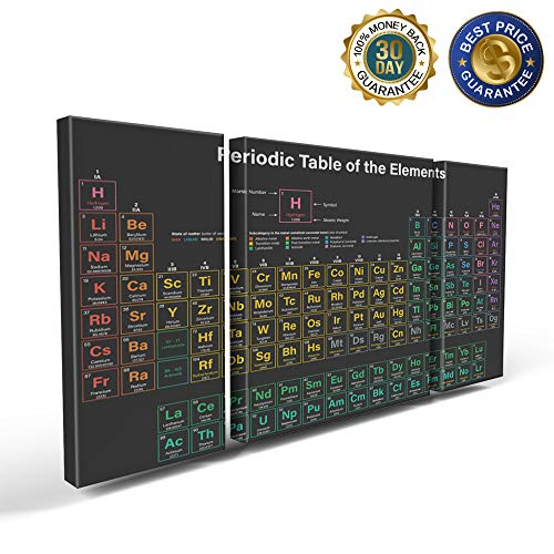 3 Panels Canvas Print Wall Art Noctilucence Periodic Table of The Elements Wall Decor Pictures for Living Room Modern Artwork Paintings Photographs Stretched and Framed Ready to Hang
