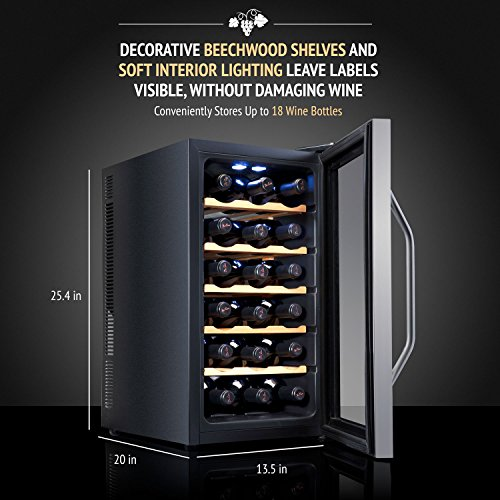 Ivation Premium Stainless Steel 18 Bottle Thermoelectric Wine Cooler/Chiller Counter Top Red & White Wine Cellar w/Digital Temperature, Freestanding Refrigerator Glass Door Quiet Operation Fridge by Ivation (Image #4)