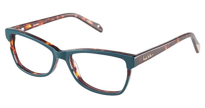Nicole Miller Ellery Eyeglass Frames - Frame TEAL/TORTOISE, Size 53 ...