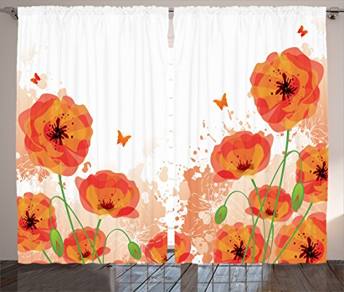 Ambesonne Poppy Decor Curtains, Digital Watercolors Design of Poppy Authentic Classic Botany Bouquet Patterns Nouveau Print, Living Room Bedroom Decor, 2 Panel Set, 108 W X 84 L Orange White (Classic Bouquet)