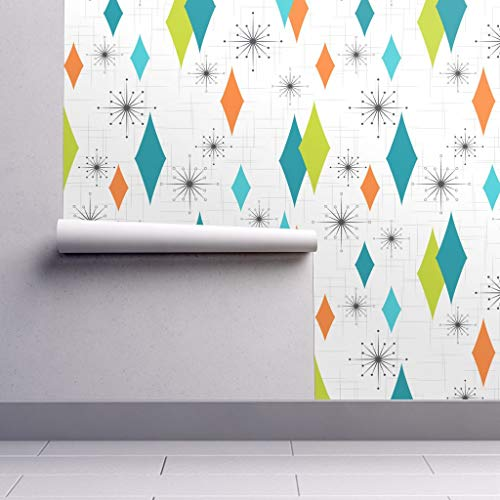 Peel-and-Stick Removable Wallpaper - Blue and Green Retro Retro Mod Home Decor Retro Shag Mid Century by Tonyanewton - 24in x 60in Woven Textured Peel-and-Stick Removable Wallpaper ()
