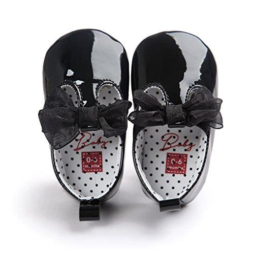 Top-Sell Los Niños Lindo Infantil Decoración Del Arco Del Bebé Zapatos Anti Deslizamiento Suavemente Único Prewalker Negro