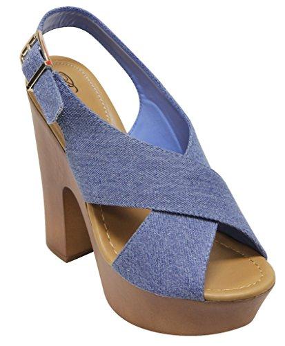 Breckelles Rudy 13 womens Platform Heel Sandals Open Toe PU Blue