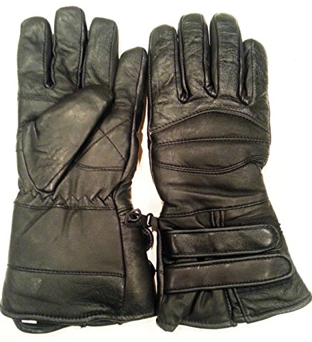 BEST Nekid Cow Brand Black Leather Motorcycle Waterproof Cold Weather Year Round Insulated Gauntlets GUARANTEED - Riding Padded Gloves - Insulated Women Men UNISEX Glove for Winter or Anytime AND Snowmobiling (Snow Mobile) - Windproof - Includes Bonus Motorcycle Rider (Mens Padded Leather Gauntlet Gloves)