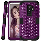 Galaxy S9 Plus Glitter Case - Sparkly Bling Rhinestones - Daker Drop Resistant Heavy Duty Silicone Rubber Bumper+Hard Back Hybrid Protective Phone Case for Samsung Galaxy S9 Plus 2018 (Purple Black)