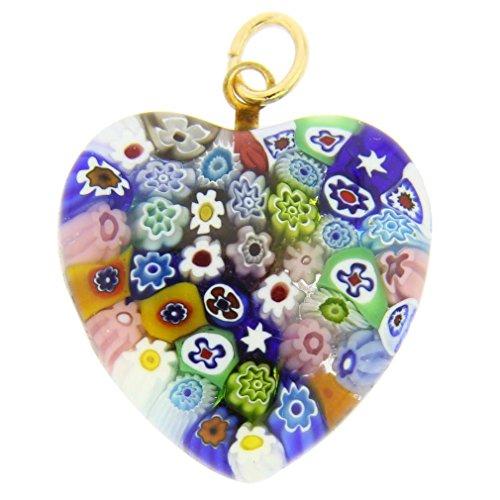 GlassOfVenice Murano Glass Millefiori Heart Pendant Medium - Multicolor ()