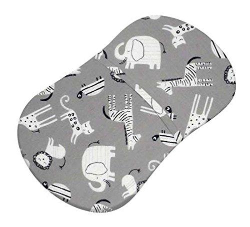 SheetWorld Fitted Bassinet Sheet Fits Halo Bassinet Swivel Sleeper - Modern Safari Animals Gray - Made in USA