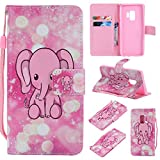 Ostop Colorful Painted Leather Wallet Case for Samsung Galaxy S9,[Kickstand Feature] Cute Elephant Printed Pink PU Magnetic Flip Cover with Card Slots Wrist Strap Shockproof Shell