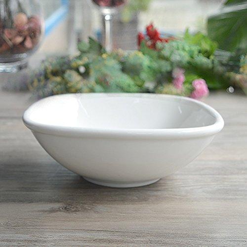 15.24cm blanc Rentzu  Bol en Céramique Vaisselle Cuisine Restaurant Filet Bol Bol en Céramique Tétragonale,Blanc 24.76Cm
