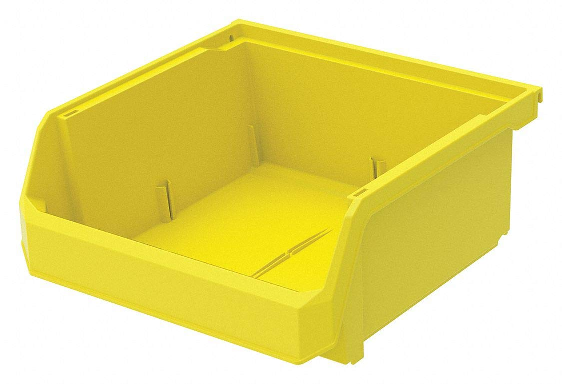 Hang and Stack Bin, Yellow, 11'' Outside Length, 11'' Outside Width, 5'' Outside Height pack of 5
