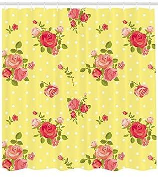 ABAKUHAUS Rose Cortina de Baño, Antiguo Patrón de Moda Femenina Romántica Ramos Ramillete en el