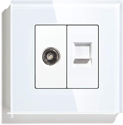 BSEED Enchufe de pared TV + PC, 1/2 TV Antena Coaxial y RJ45 ...