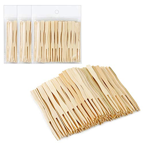 Syihaos 300 Pieces Total Bamboo Forks Mini Food Picks Double Prong Cocktail Forks Blunt-end Forks for Banquet Catering Party, 3.5 Inches