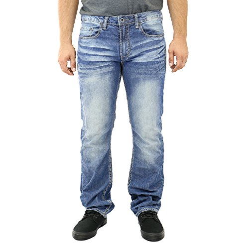 Buffalo David Bitton Men's Driven Stright Leg Jean In Sanded Damaged and Repaired, Sanded Damaged/Repaired, 38x32