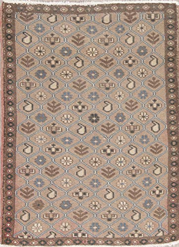 Traditional Hand Made Mahal Wool Oriental Vintage Persian Area Rug 3x5 Brown (4' 7