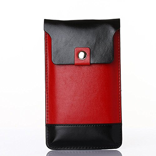 by Rinastore, Crazy Horse Pattern Leather Wallet Side Pouch Waist Bag with Carabiner Hook for Apple iPhone/Samsung Galaxy Series and Other Phones under 6.5 inches  (Red) (Galaxy Executive Chair)