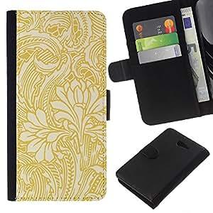 Stuss Case / Funda Carcasa PU de Cuero - Gold papel tapiz floral Beige Flores - Sony Xperia M2
