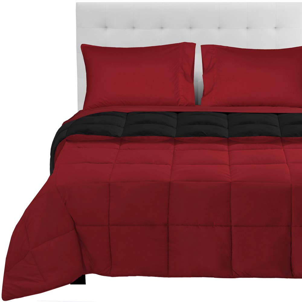 Black - Red   Red Split King 5-Piece Reversible Bed-in-A-Bag - Queen (Comforter  Dark bluee Grey, Sheet Set  Grey)