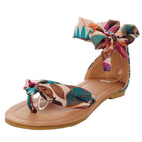 COOLCEPT Bohemian Style Mujer Planos Sandalias Clip Toe Floral Al Tobillo Beach Zapatos Azul