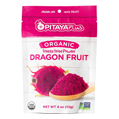 Pitaya Plus Freeze Dried Red Dragon Fruit Powder Organic. 4 Ounces of 100% Dragon Fruit for the Brightest Pink Rceipes. USDA and Oregon Tilth Organic, Non-GMO, Earth Kosher, Vegan Verified, B-Corp. (Best Dried Fruit For Iron)