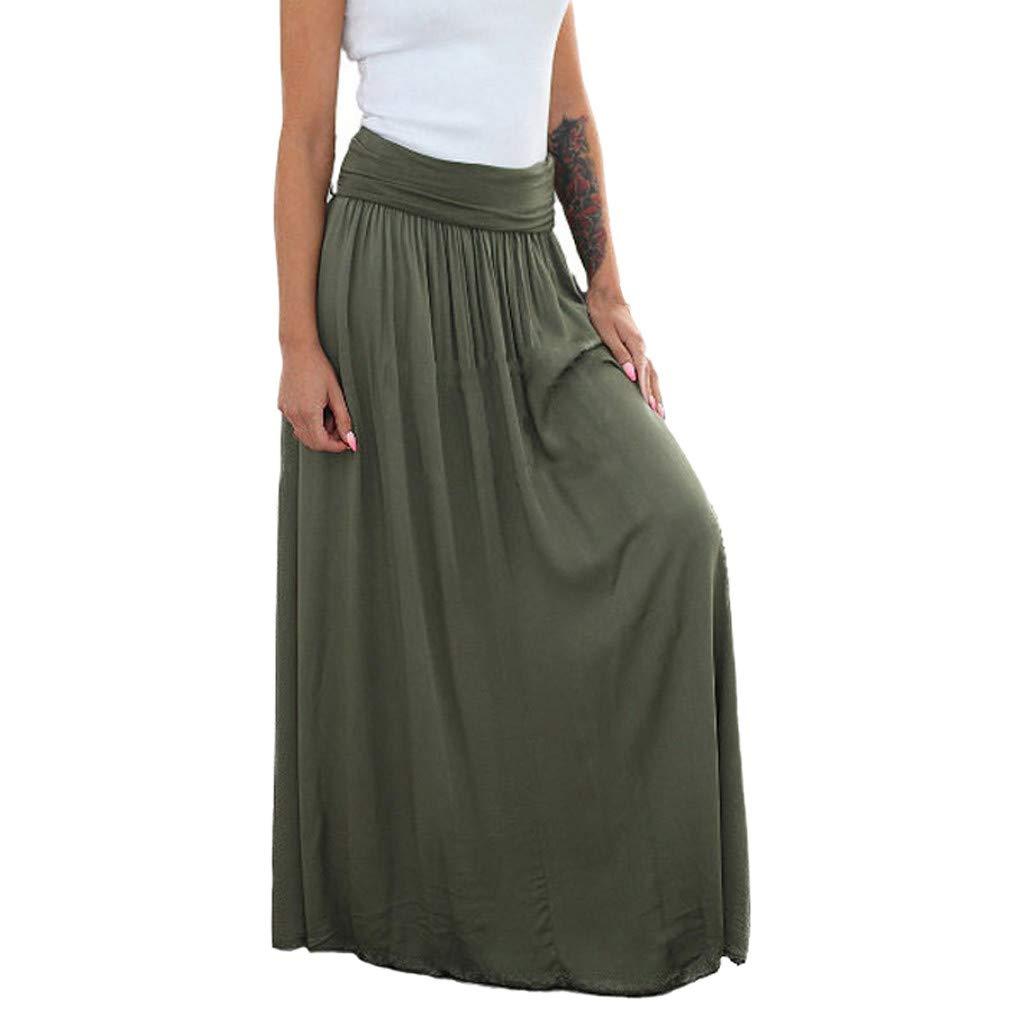 Elegant Pleated A-Line Dress Women Fashion High Waist Split Solid Color Maxi Skirt Ladies Beach Skirt Green by UCQueen