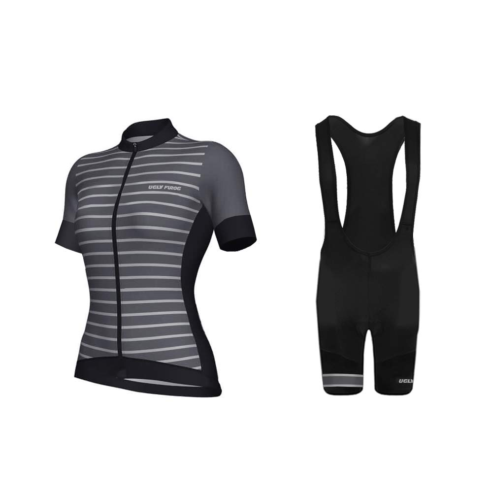Uglyfrog Ladies Cycling Jersey Short Sleeve Bike Team Racing Top bib Shorts Set Fashion Design DXWX01