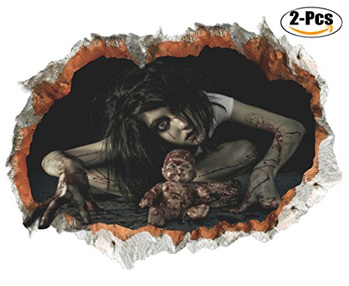 3D Halloween Wall Sticker, Outgeek 2 Pcs Horror Female Ghost Breaking Wall Decals For Home Decor 24