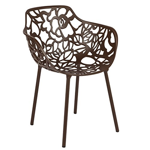 LeisureMod Devon Modern Aluminum Indoor-Outdoor Stackable Side Dining Arm Chair (Brown) For Sale