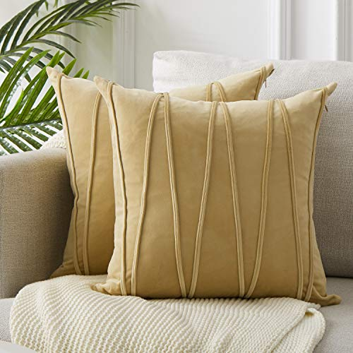 Top Finel Decorative Hand-Made Throw Pillow Covers 16 x 16 Inch Soft Particles Striped Velvet Solid Cushion Covers for Couch Bedroom Car 40 x 40 cm, Pack of 2, Khaki (Striped Pillow Cover)