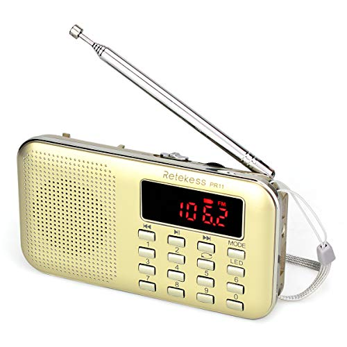 Retekess PR11 Am Fm Radio Portable Rechargeable Transistor Radios Small with Headphone Jack Mp3 Music Player Speaker Support Micro IF Card ()