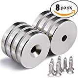 "1.26""D x 0.2""H Neodymium Disc Countersunk Hole Magnets. Strong Permanent Rare Earth Magnets with Screws - Pack of 8"