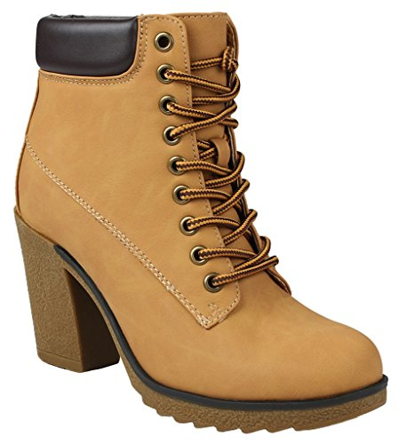 JJF Shoes Women JoJo Tan Military Two Tone Lace up Platform Chunky High Heel Ankle Booties-10