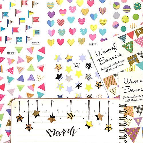 - 1000Art PlannerStickers - Star,Heart,Round,Flag Stickers for Daily Planners,Journals,Agendas,Calendars,DIYArtsandCrafts,Album - 12 Sheets - 840+Stickers
