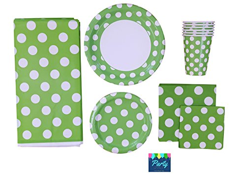 (Green Party Supplies Deluxe Pack for 16 Guests Including - Lunch Plates, Dessert Plates, Cups, Napkins and Table Cover)