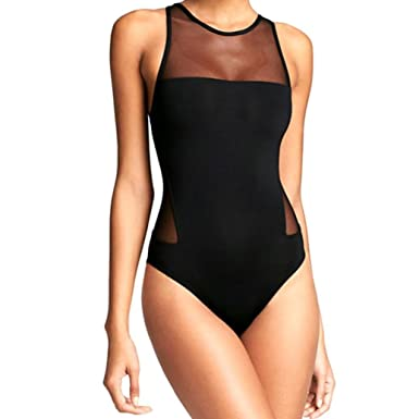 9707d2e8745 Women Sexy One Piece Swimsuit Mesh Open Back Hollow Out Padded Bathing Suit  Swimwear