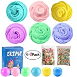 SLOUEASY - Fluffy Slime Supplies 10 oz Fluffy Floam Slime Scented Stress Relief Toy for Kids, Super Soft Non Sticky Without Borax (6 Pack)