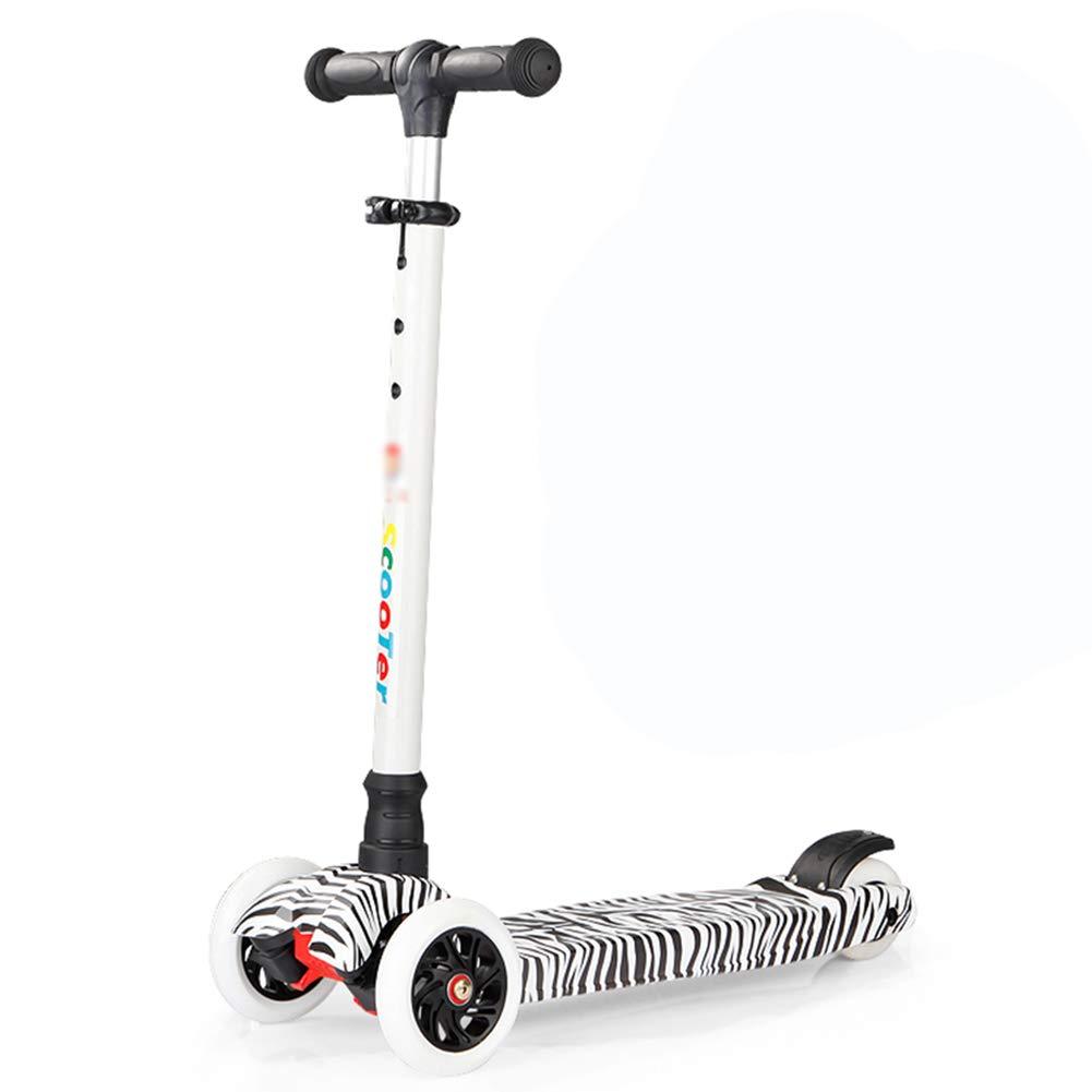 【60%OFF】 キックスクーター三輪車スケートボードペダル式乗用スタントスクーター折りたたみTバーハンドルライトアップホイール付きLED調節可能な Zebra B07HB5RJDR B07HB5RJDR Zebra, ヴィヴィド フォー ユー:73efe965 --- a0267596.xsph.ru