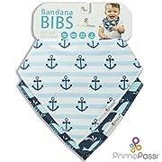 Primo Passi Baby Bandana Bib 2-Pack, Boy (Blue Navy Anchor/Whale)