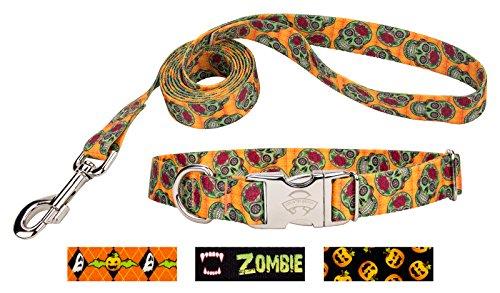 Country Brook Design   Sugar Skulls Premium Dog Collar & Leash - Large