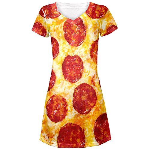 Pepperoni Pizza Costume All Over Juniors Cover-Up Beach Dress - Large (Womens Pizza Costume)