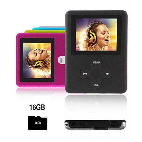 Btopllc MP3-Player,MP4 Player 16GB Karte,MP3 tragbarer Musik-Player,MP3/MP4 Digitaler Musik Player Klassisch wiederaufladbar/Media Player/Video/Audio Player/Multimedia Player- schwarz