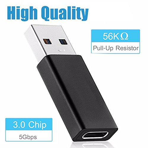 USB C to USB 3.0 Adapter, 2 PACK USB C Female to USB 3.0 Male Adapter, Bribass Hi-speed Female USB C 3.0 to USB A Male Converter Adapter for for Laptop/Wall Car Charger with USB A Interface