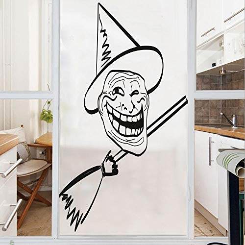 Decorative Window Film,No Glue Frosted Privacy Film,Stained Glass Door Film,Halloween Spirit Themed Witch Guy Meme LOL Joy Spooky Avatar Artful Image,for Home & Office,23.6In. by 59In Black White]()