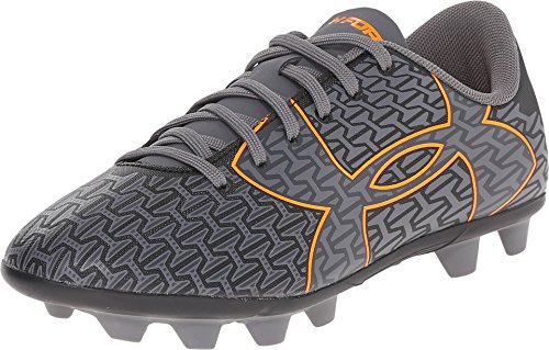Under Armour CF Force 2.0 FG-R Jr - Soccer Cleats (4 Big Kid M, Black/Graphite-Orange Braisier)