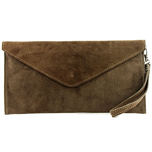 modamoda de T106 - Clutch de piel italiana, bolso de mano, bolso de noche, ante Blassbraun
