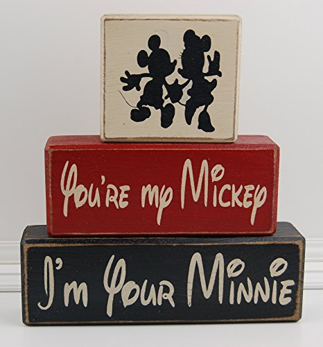 Your My Mickey I'm Your Minnie LOVE Mickey Mouse-Disney Primitive Wood Sign Shelf Stacking Blocks Home Decor Wedding Gift Shower Centerpiece]()