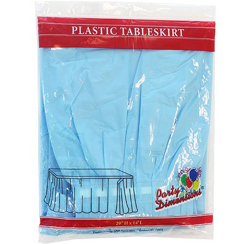 Party Dimensions Single Count Plastic Table Skirt, 29 by 14-Feet, Light Blue - 14' Table Light