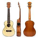 Kmise Concert Electric Acoustic Ukulele Solid Spruce Ukelele Uke Hawaii 4 String Guitar 18 Frets 23 inch with 3 Band EQ
