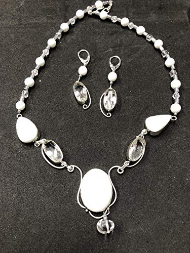 WHITE TOPAZ GEMSTONES IN STERLING SILVER JEWELRY SET HANDMADE