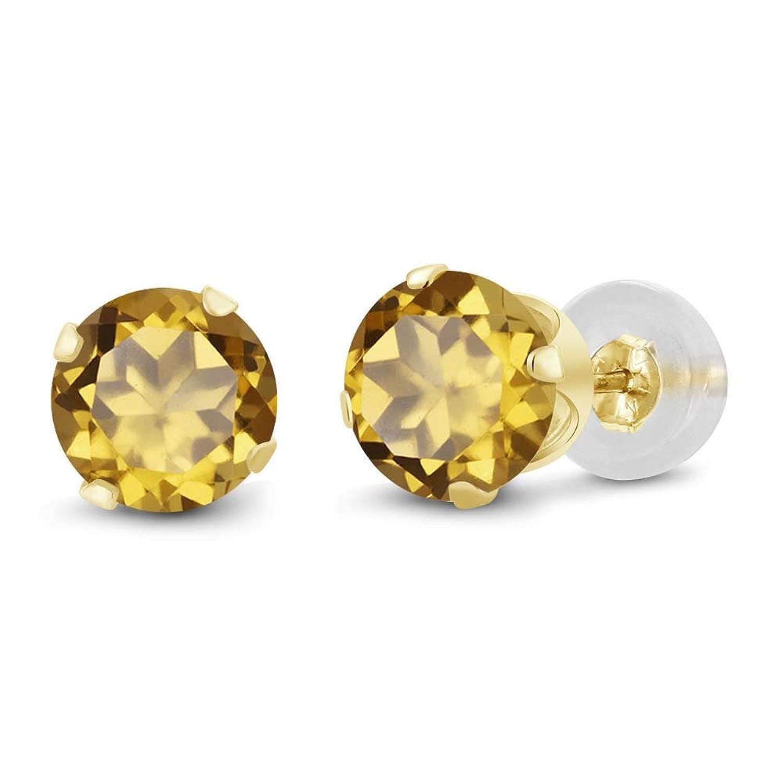 1.60 Ct Round 6mm Champagne Quartz 14K Yellow Gold Stud Earrings